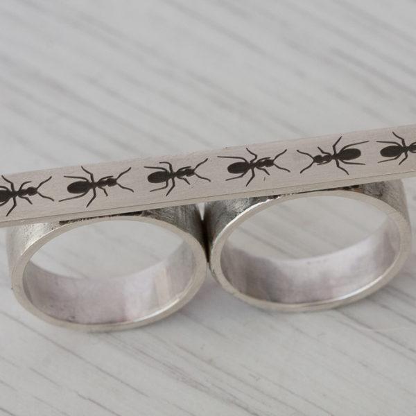 Vienetinis dvigubas sidabrinis žiedas.