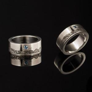 """Sužadėtuvių žiedas iš balto aukso su topazo akmeniu – """"Nida"""""""