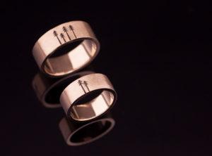 Vestuviniai žiedai su graviruotom eglėm
