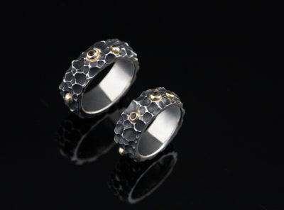 vienetiniai vestuviniai žiedai iš sidabro