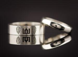 Balto aukso vestuviniai žiedai su Gedimino stulpais