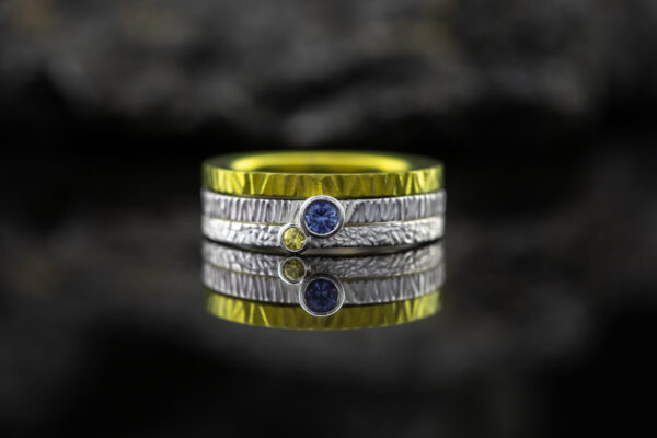 Žiedų rinkinys su safyrais